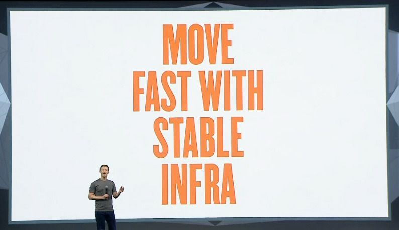 "Mark Zuckerberg saying ""move fast with stable infra"""